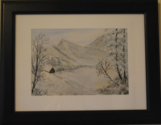 Winterlandschaft schnee, Landschaft, Berge, Natur, Malerei, Winterlandschaft