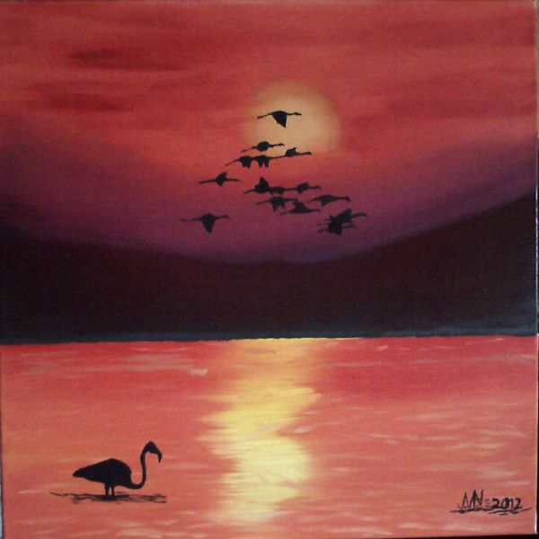 Tiere, Flamingo, Landschaft, Sonnenuntergang, Malerei