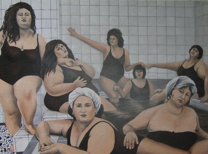 Frau, Hallenbad, Wasserdampf, Malerei, Menschen,