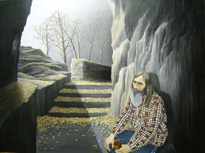 Obdachlosigkeit, Betteln, Penner, Armut, Malerei, Figural