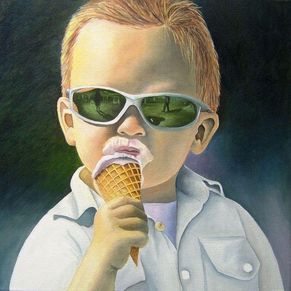 Sommer, Eis, Kind, Sonnenbrille, Malerei, Menschen