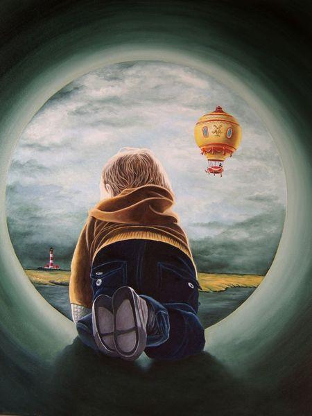 Tunnel, Kind, Ballon, Leuchtturm, Röhre, Landschaft