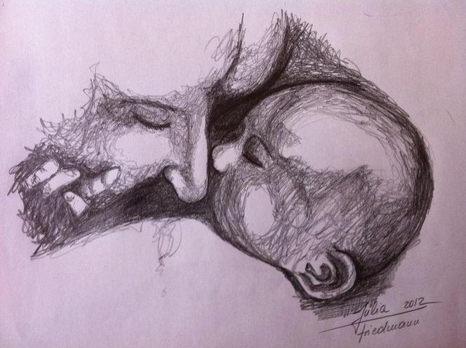 Kunstnet / Werke / Zeichnungen / Portrait / Mutterliebe