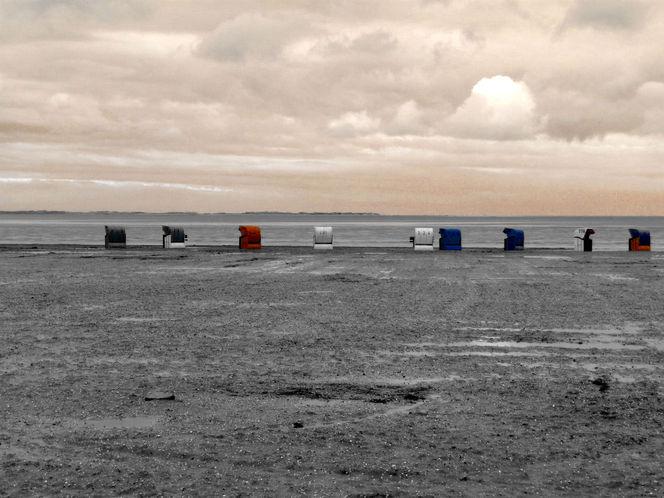 Sand, Spuren, Wolken, Strand, Weite, Strandkorb