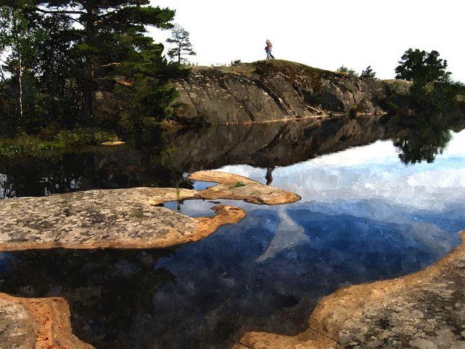 Ostsee, Spiegelung, Gewässer, Insel, Menschen, Baum