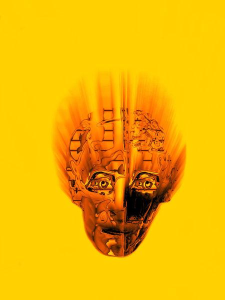 Gesicht, Gehirn, Sich wundern, Denken, Gelb, Digitale kunst