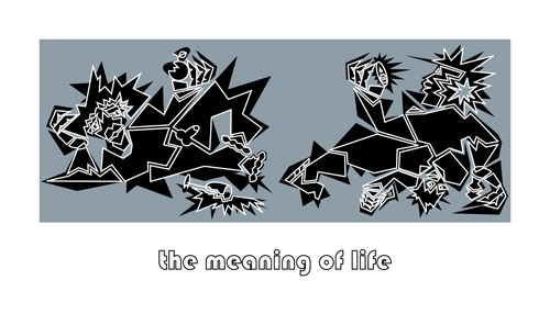 Druckgrafik, Meaning of life, Grau, Malerei, Blau, Serie