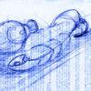 Kugelschreiber, Fisch, Zeichnung, Weinglas