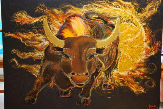 Feuer, Feuerball, Stier, Malerei