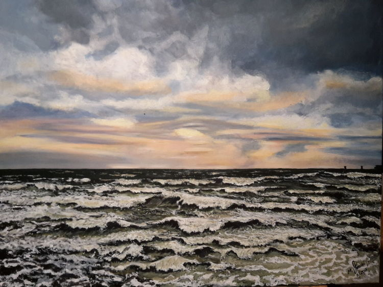 Sonne, Wasser, Sturm, Welle, Wolken, Malerei