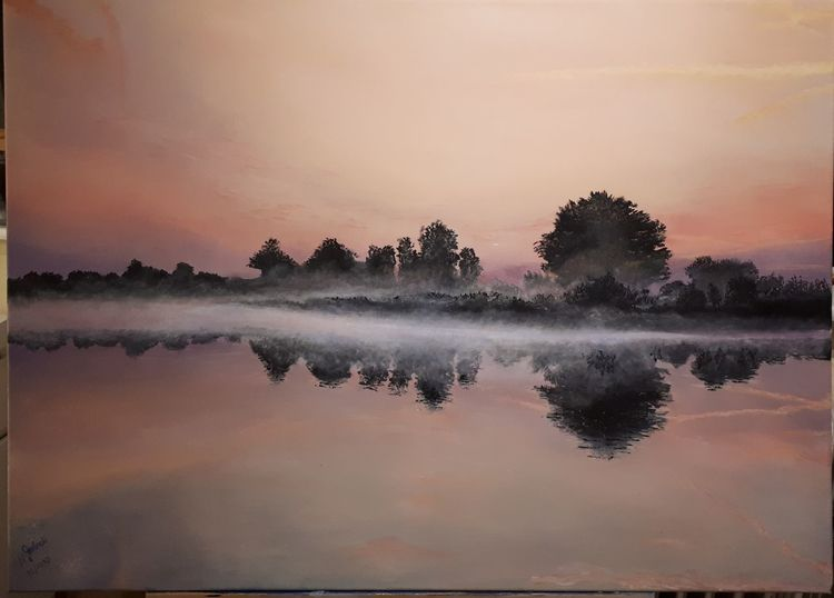 Aufgang, Morgen, Wasser, Nebel, Malerei, Sonnenaufgang