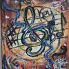 Abstrakt, Musik, Notenschlüssel, Malerei