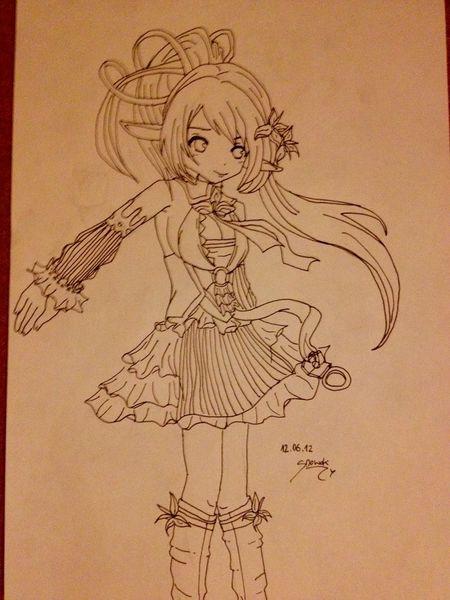Elsworld, Mädchen, Manga, Kampf, Comic, Bleistiftzeichnung