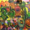 Malerei, Stadt, Fisch