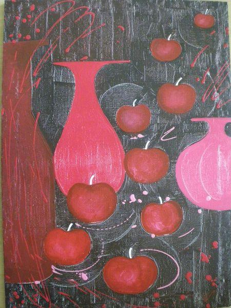 Pink, Acrylmalerei, Apfel, Rot, Vase, Rot schwarz