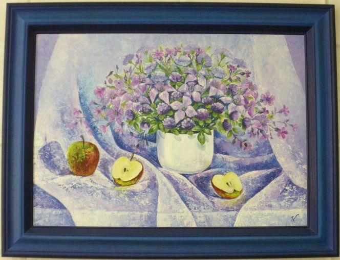 Flieder, Ölmalerei, Apfel, Kartonleinwand, Blumen, Blumenstrauß