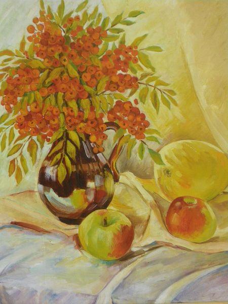 Gelb, Eberesche, Honigmelone, Apfel, Malerei, Stillleben