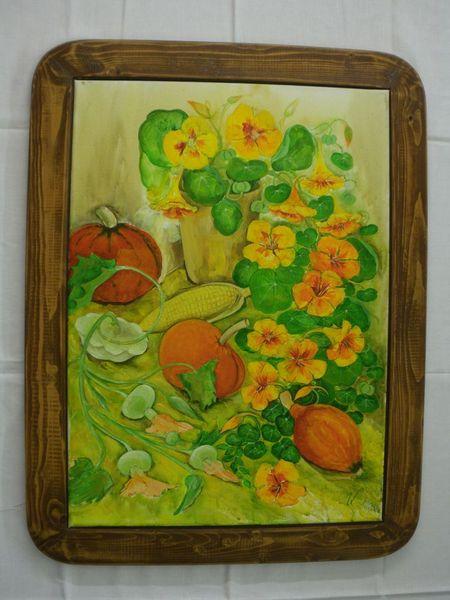 Acrylmalerei, Grün, Erntedankfest, Gelb, Gemüse, Malerei