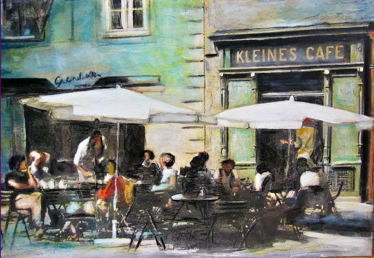 Grün, Straße, Weiß, Blau, Kohlezeichnung, Malerei