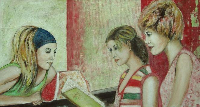 Frau, Grün, Rot, Malerei, Menschen