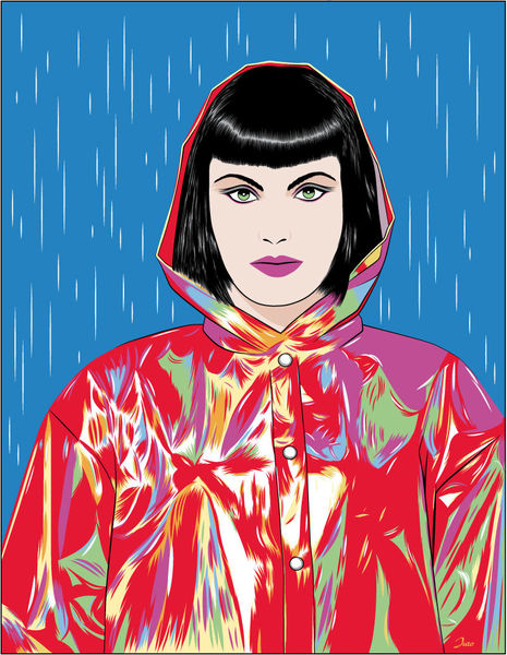 Regen, Frau, Farben, Illustrationen, Vielfalt