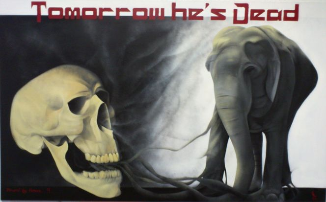 Weiß, Sprühlack, Schwarz, Schädel, Elefant, Tod