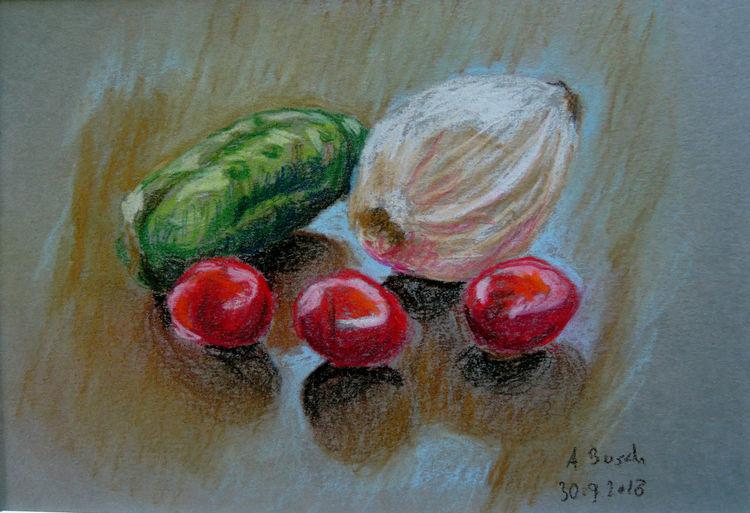 Zwiebeln, Gurke, Tomate, Zeichnungen,
