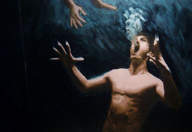 Unterwasser, Mann, Schrei, Malerei, Menschen, Ausschnitt