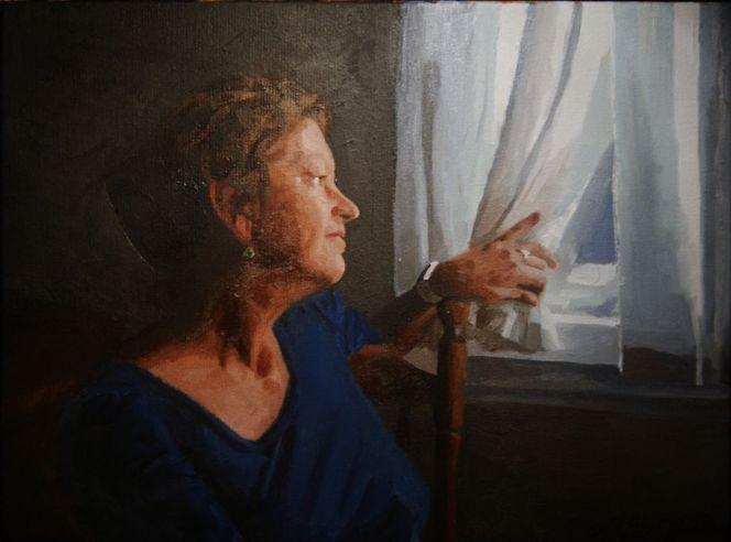 Stuhl, Ohrringe, Gardine, Portrait, Mutter, Hand