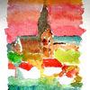 Aquarellmalerei, Kirche, Rerik, Baum