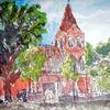 Baum, Pflanzen, See, Kirche
