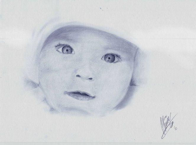 Dry brush technik, Baby, Blau, Zeichnung, Dry brush, 2012