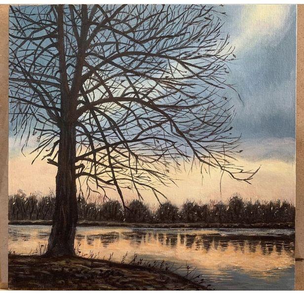 Gras, Stimmung, Baum, Sonnenuntergang, Wasser, Malerei