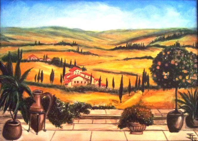 Acrylmalerei, Landschaft, Toskana, Malerei,