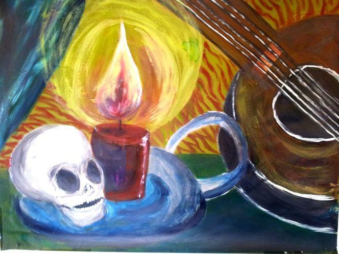 Zupfinstrument, Gruselig, Kerzen, Nacht, Kerzenschein, Geisterstunde