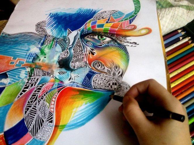 Polychromos tusche filzstifte, Zeichnungen, Wand
