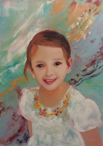 Enkelin, Bezauberndes lächeln, Malerei, Portrait, Ölmalerei,