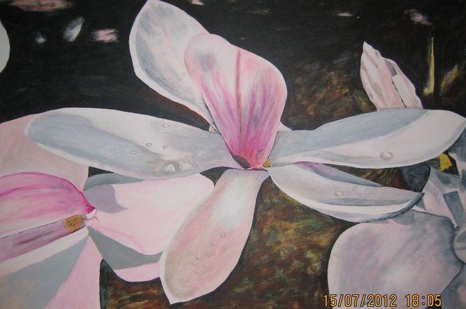 Blumen, Magnolienblüten, Acrylmalerei, Frühling, Magnolien, Malerei