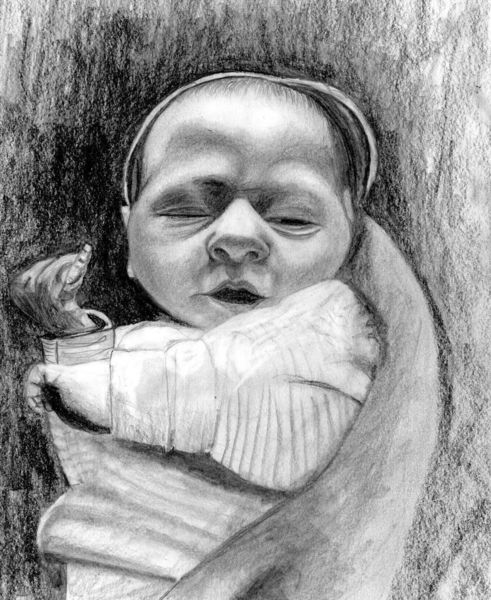 Familie, Paula neugeboren, Glück, Bleistiftzeichnung, Tochter, Neugeboren