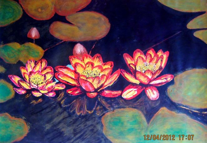 Seerosen, Dorfteich, Blume, See, Acrylmalerei, Wasser