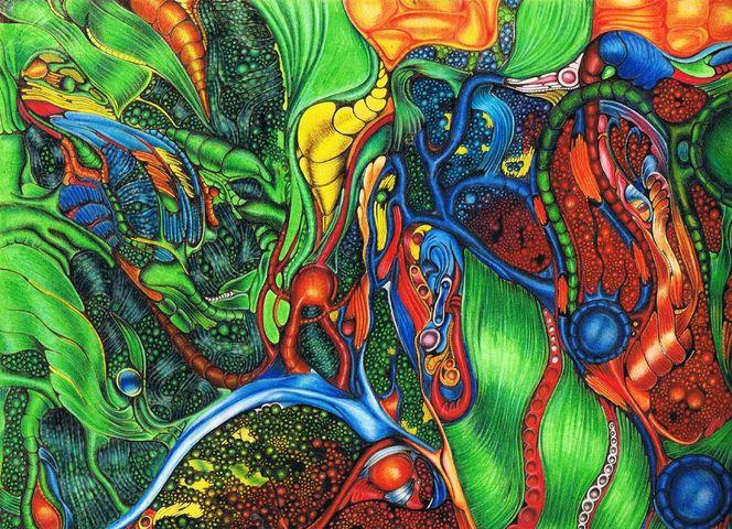 Bunt, Abstrakt, Fantasie, Zeichnungen