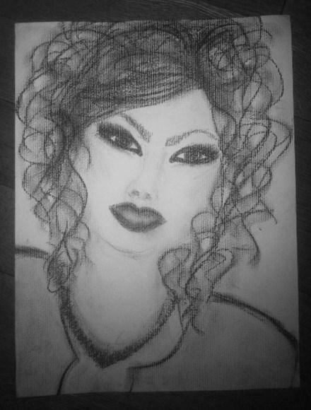 Zeichnung, Locken, Kette, Schwarz weiß, Augen, Portrait
