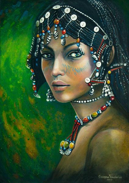 Schmuck, Blick, Äthiopien, Portrait, Bunte perlen, Stolz