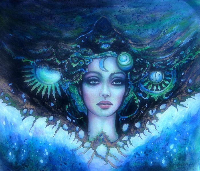 Mischtechnik, Gesicht, Zeichnung, Universum, Fantasie, Frau