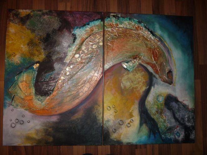 Fisch, Gold, Tropfen, Türkis, Abstrakt, Malerei
