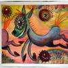 Zeichnung, Tiere, Pferde, Lachen