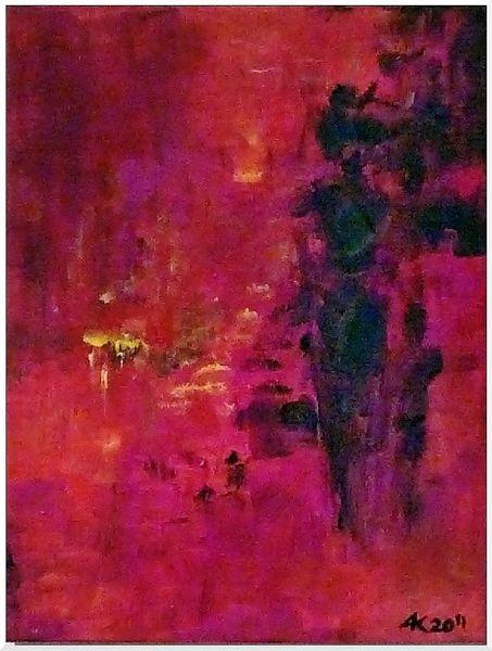 Abstrakt, Kind, Frau, Sonnenuntergang, Rot, Malerei