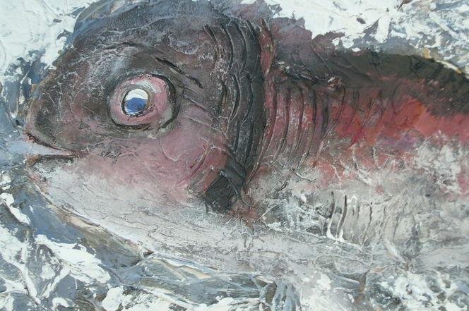 Spachteltechnik, Kratzen, Fisch, Malerei, Tiere