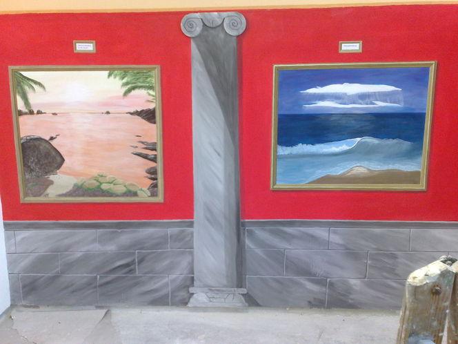 Grau, Illusionsmalerei, Meer, Landschaft, Malerei