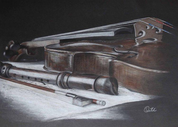 Musik, Staub, Stillleben, Geige, Holz, Flöte